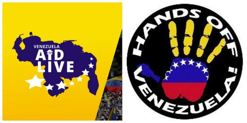 Логотата на двата концерта. Вдясно е Venezuela Aid Live, вляво е Hads off Venezuela. Снимка: sumarium