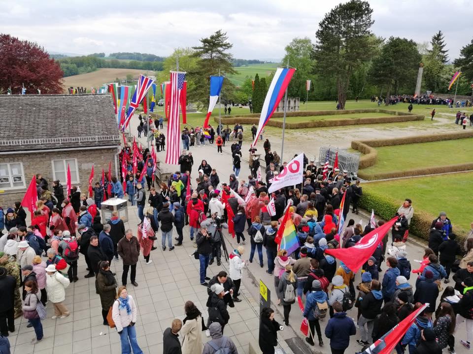 Акция на Социалистическата младеж в лагера Маутхаузен . Снимка: https://www.facebook.com/mauthausenkomitee