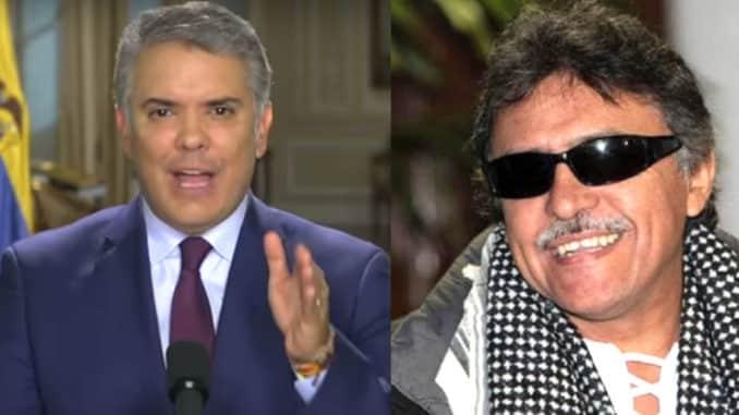 Колумбийският президент Иван Дуке (вляво) и освободеният след над една година затвор бивш партизанин Хесус Сантрич. Снимка: Protagonista