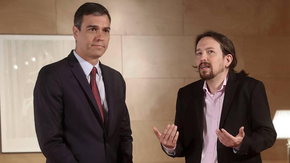 Педро Санчес и Пабло Иглесиас по време на безплодната им среща в парламента в Мадрид на 9 юни. Снимка: El Pais