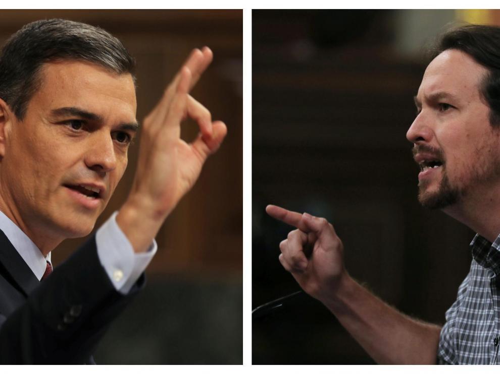 Педро Санчес и Пабло Иглесиас по време на парламентарните дебати. Снимка: heraldo.es