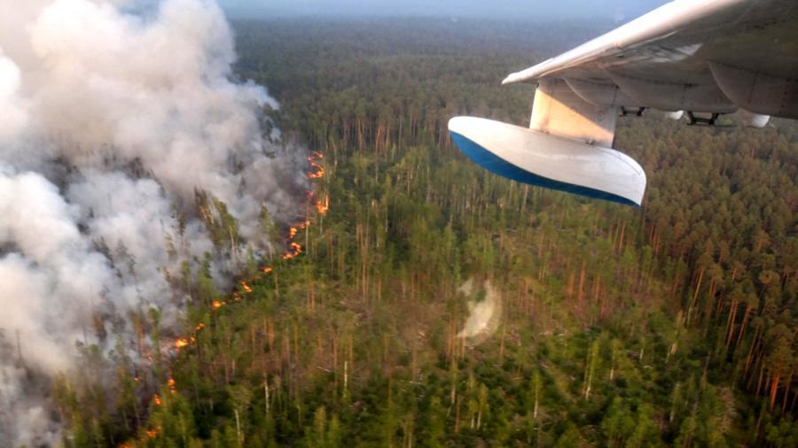 Специално оборудвани военни самолети са включени в потушаването на пожарите в Сибир. Снимка: МЧС
