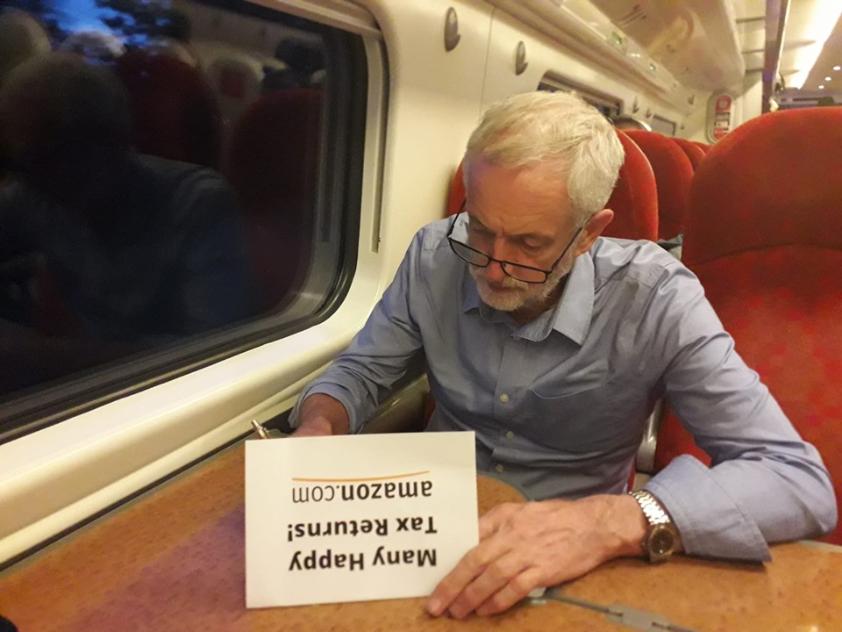 Джеръми Корбин възнамерява да сложи край на данъчния тарикатлък на свръхбогатите и корпоративни мастодонти като Амазон. Снимка: https://www.facebook.com/JeremyCorbynMP