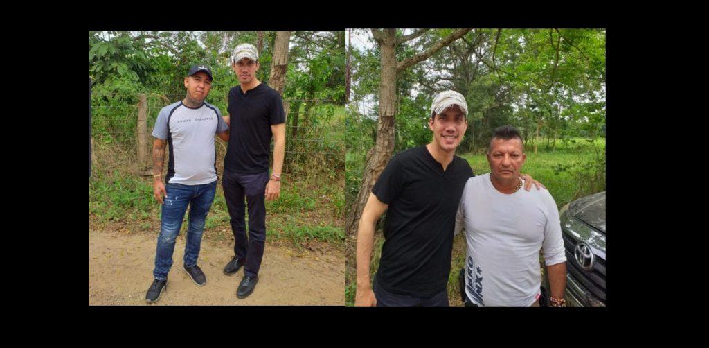 """Скандалните снимки на Хуан Гуайдо с наркобосовете Албейро Лобо Кинтеро  - """"Брадър"""" (вдясно) и с Джон Хайро Дуран Контрерас - """"Ел Менор"""" (вляво), публикувани в Туитър от колумбийския правозащитник Вилфредо Канисарес. Снимка: Туитър"""