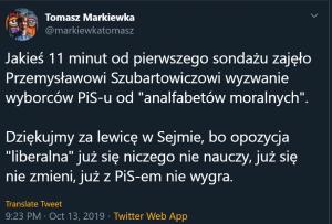 """Коментар на изказването на Шубартович от популярен ляв анализатор свързан с партията """"Заедно"""" Томаш Маркиевка: """"Благодарим за вкарването на левица в Сейма, защото """"либералната"""" ни опозиция просто никога на нищо няма да се научи, няма да се промени и няма да победи ПиС""""–http://bit.ly/2NnYPci"""