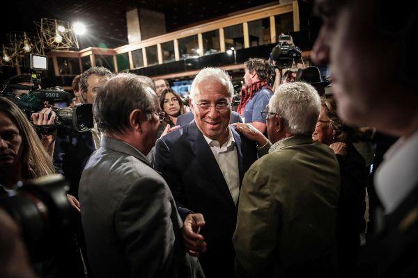 Португалският премиер социалист Антонио Коща в следизборната нощ н 7 октомври. Снимка: EFE