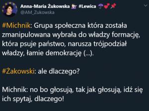"""Разговорът на Жаковски и Михник цитиран в Twitter от Анна-Мариа Жуковска, говорителка на СДЛ, с коментар """"Направо ми се крещи (от глупостта на """"демократите""""–ред.)–http://bit.ly/32V2TY3"""