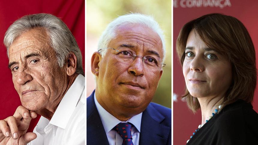 """""""Добрата Тройка"""" отляво надясно: лидерът на комунистите Жеронимо де Соуза, премиерът социалист Антонио Коща, водачката на Левия блок Катарина Мартинс. Снимка: Expresso.pt"""