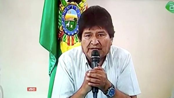 Президентът Ево Моралес по време на обръщението си, с което подаде оставка: Снимка: TeleSur