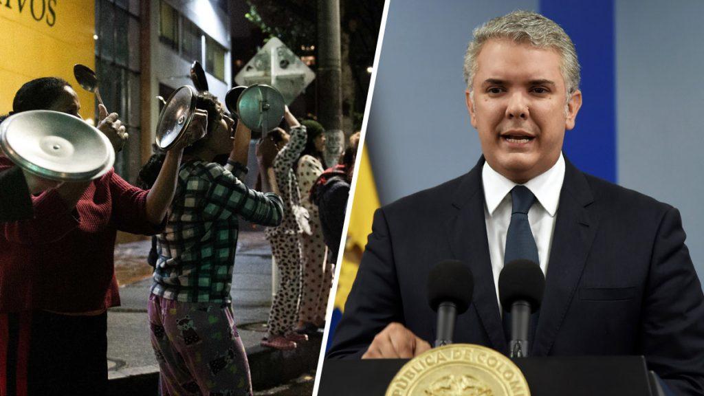 """Жителите на Богота чукат в празни тенджери също като чилийците, та да """"събудят"""" и своя президент Иван Дуке (вдясно), за да чуе протеста на народа си срещу неолибералното менгеме. Колаж: lanetaneta.com"""