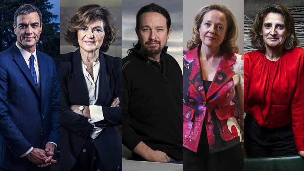 Отляво надясно: Премиерът на Испания Педро Санчес и вицепремиерите Кармен Калво, Пабло Иглесиас, Надя Калвиньо и Тереса Рибера. Снимка: El Pais