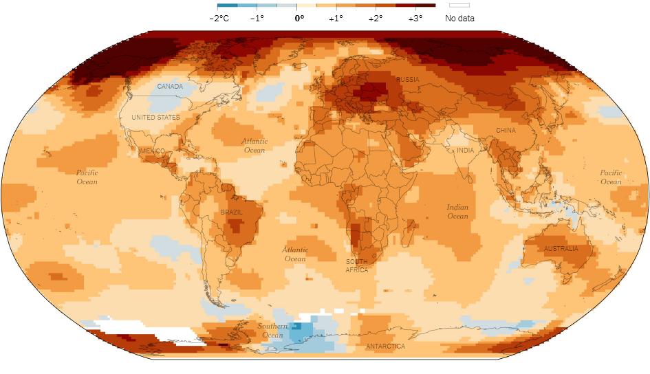 """Промяна на средните годишни температури спрямо средата на 20 век. Източник: НАСА, Институт за космически изследвания""""Годард"""""""