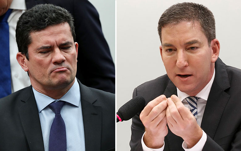 """Вляво - бившият съдия и днешен бразилски министър на правосъдието Сержио Моро, известен като """"душманина на Лула"""". Вдясно - журналистът Глен Грийнуолд, разобличил договорките между магистратите за изхвърляне на експрезидента Лула от изборите през 2018 г. Снимка: Rede Brasi Atual"""