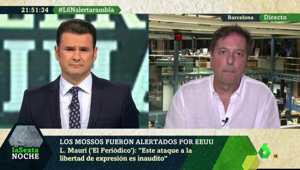 Луис Маури (вдясно) от El Periódico говори по испанската телевизия Sexta през 2017 г., когато вестникът му бе обвинен от сеператистките власти в Каталуня във връзки с испанското и американското разузнаване. Той нарече атаките посегателство срещу свободата на медиите.