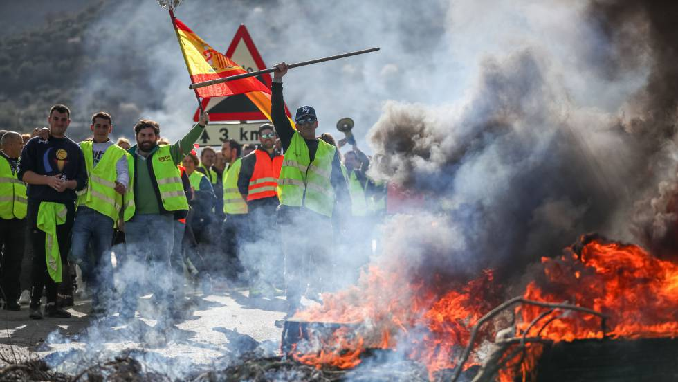 Гневни производители на маслини от Гранада и Хаен преградиха с блокада шосе А-4 в знак на протест срещу ниските изкупни цени на продукцията им. Снимка: El Pais