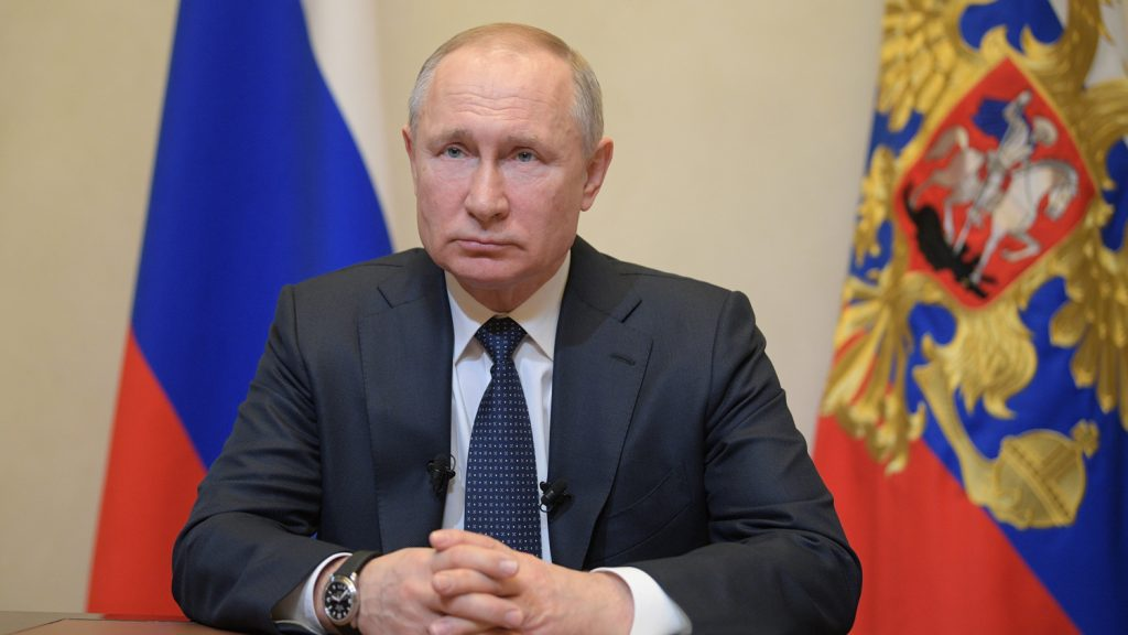 Владимир Путин по време на обръщението. Снимка: РИА