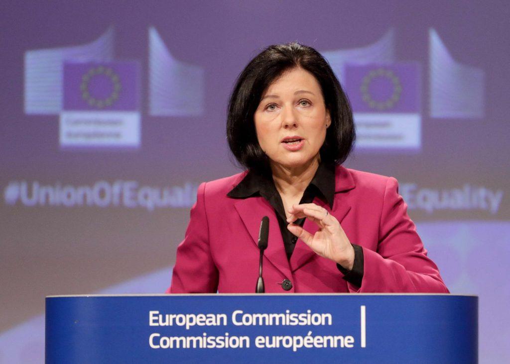 Вера Йоурова, зам.-председател на Европейската комисия и комисар по ценностите и прозрачността. Снимка: EFE