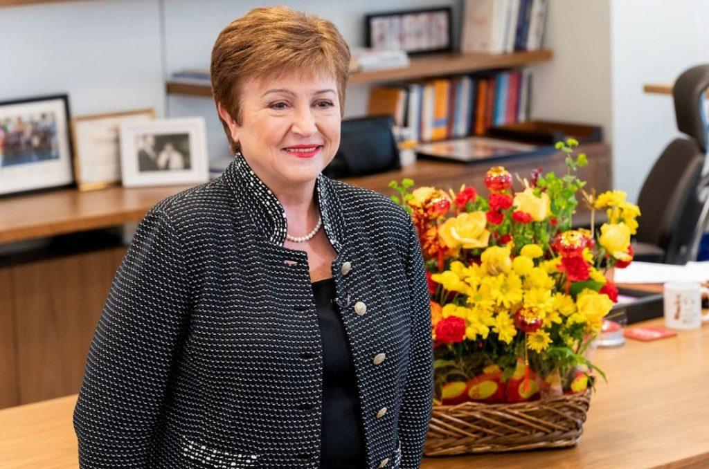 Кристалина Георгиева в кабиета си в МВФ. Снимка: МВФ