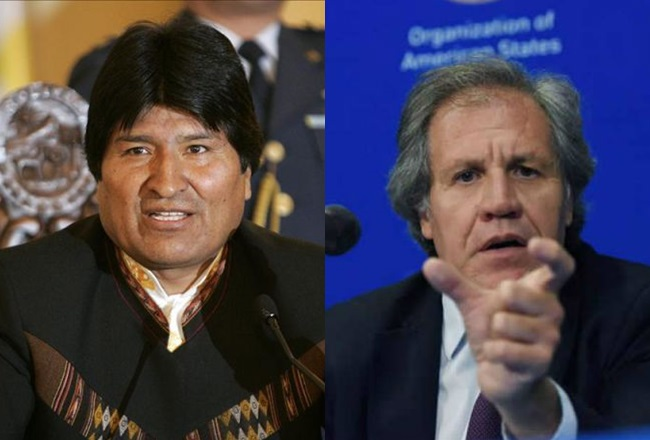 Експрезидентът на Боливия Ево Моралес (вляво) и генералният секретар на Организацията на американските държави Луис Алмагро. Колаж: diaadia.com.pa
