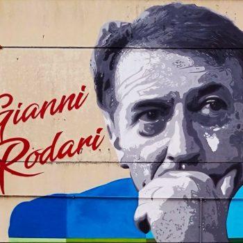 Уличен стенопис в Болоня с лика на Джани Родари. Снимка: fabieke.com