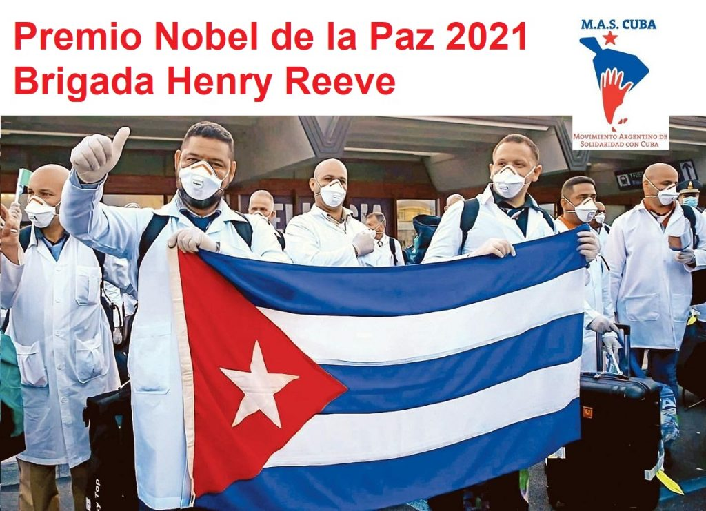 """Аржентински плакат от кампанията за номиниране на кубинската медицинска бригада """"Хенри Рийв"""" за Нобелова награда за мир. Снимка: Facebook"""