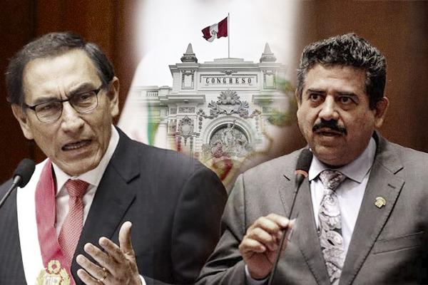 Мартн Вискара (вляво) бе свален от президентския пост в Перу след импийчмънт и на мястото му седна досегашният парламентарен шеф Мануел Мерино. Снимка: expreso.com.pe