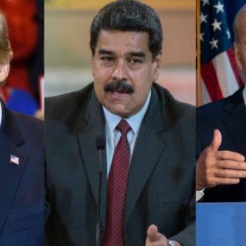 Николас Мадуро (в средата) няма шанс да дочака благосклонна политика от Вашингтон - агресивният курс на Доналд Тръмп (вляво) срещу Венесуела явно ще бъде продължен и от Джо Байдън. Снимка: falanx.com