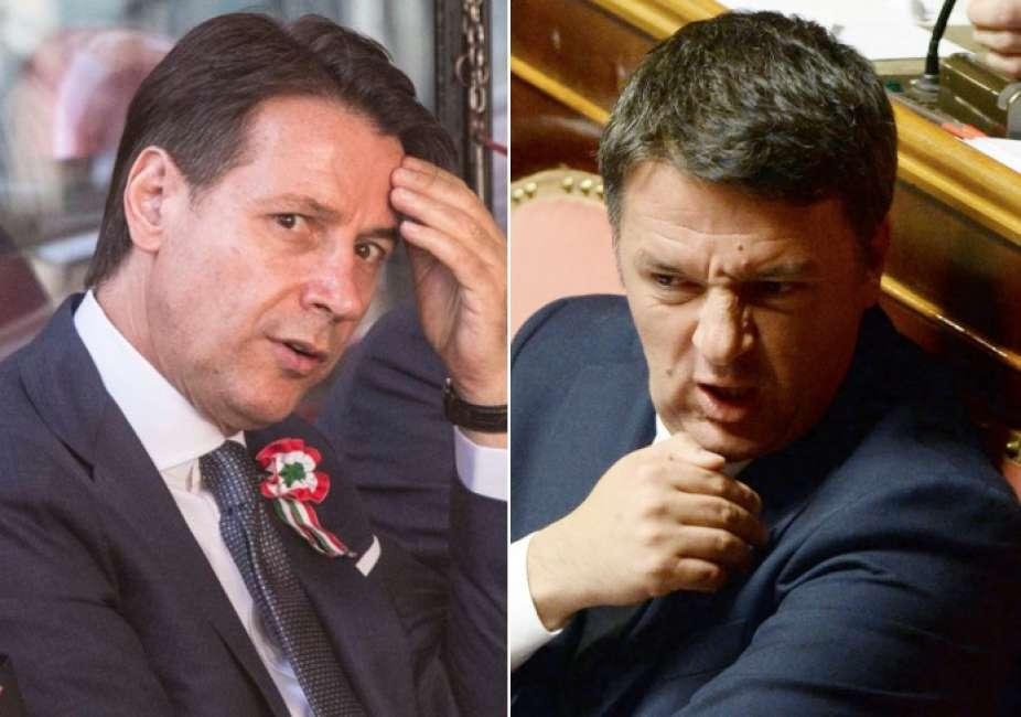 Джузепе Конте (вляво) и Матео Ренци. Снимка: teleradio-news.it