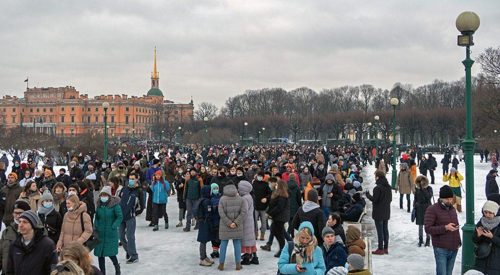 Протест срещу арестуването на Алакесй Навални в Санкт Петербург, 23 януари. Wikimedia Commons