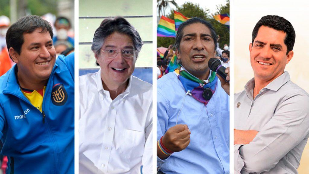 Четиримата кандидати с най-високи данни от сондажите преди изборите в Еквадор на 7 февруари (от ляво надясно) - фаворитът Андрес Араус, Гийермо Ласо, Яку Перес, Хавиер Ервас