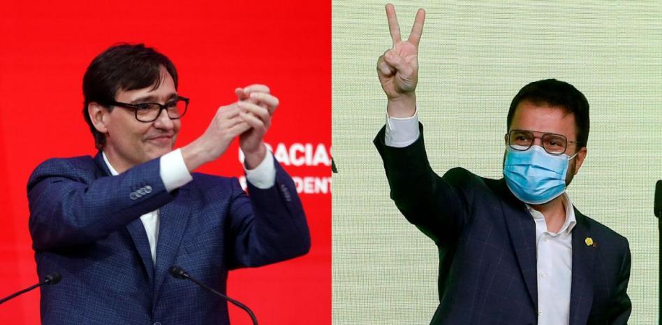 Салвадопр Иля (вляво), кандидат-премиерът на Социалистическата партия на Каталуня, се радва, че осигури на формацията си най-много гласове. Пере Арагонес (вдясно) също се чувства победител, защото неговата Каталунска републиканска левица може да сформира правителство с голяма подкрепа и реално да му осигури премиерския пост. Снимка: lavanguardia.com