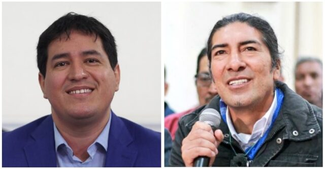 Андрес Араус (вляво) е победителят в първия тур на президентските избори в Еквадор, а като възможен негов съперник в балотажа се очертава Яку Перес. Снимка: ecuadornoticias.com
