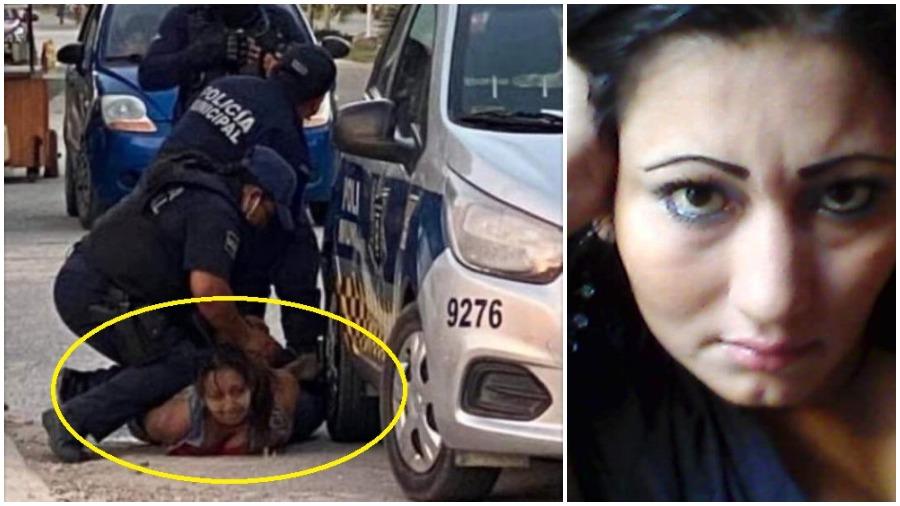 Вляво - кадър от записа с бруталния арест на Виктория Саласар. Вдясно - салвадорската мигрантка приживе. Снимка: elsalvador.com