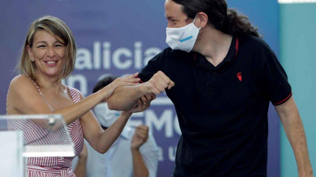 Йоланда Диас и Пабло Иглесиас миналото лято. Снимка: EFE