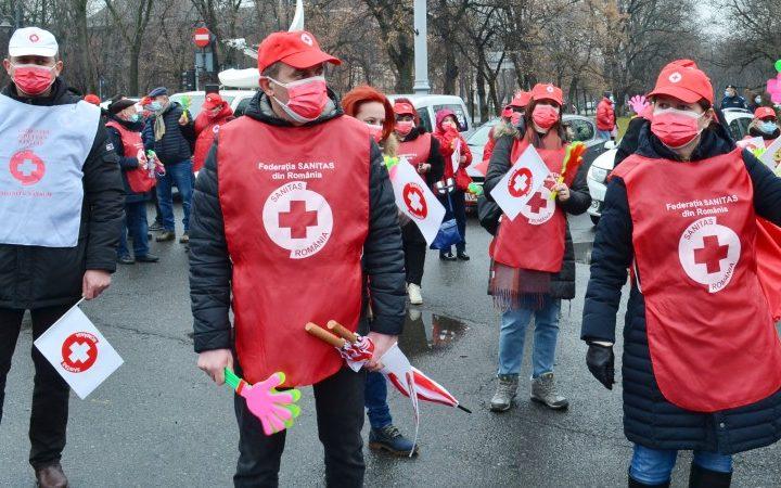 Протест на синдиката на здравните работници в Румъния, февруари 2021 г. (източник: SANITAS)