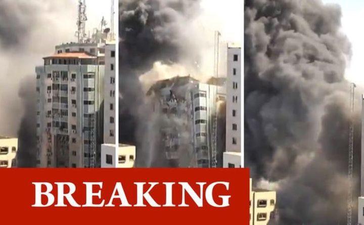 Три кадъра от удара и унищожаването на 13-етажна сграда с офиси на медии в Газа на 15 май. Снимка: dailystarpost.com