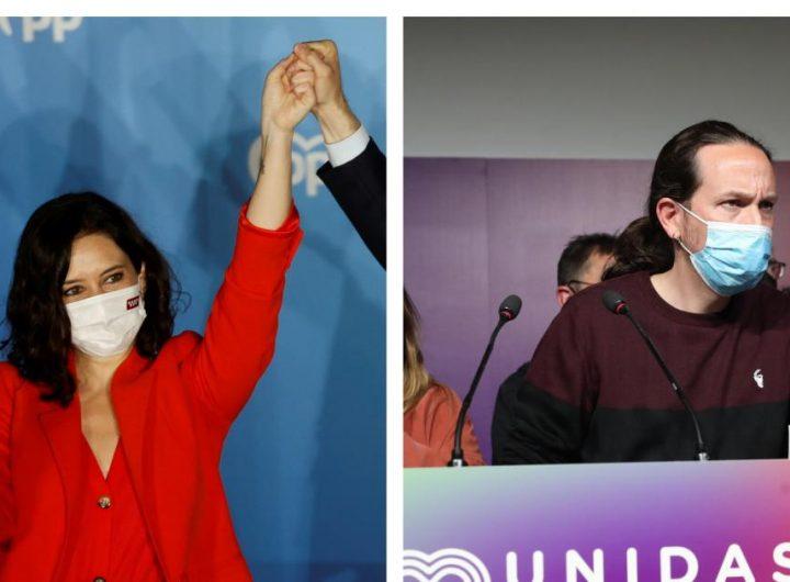 """Исабел Диас Аюсо (вляво) от Народната партия взе почти 45% в Мадридската автономия, а Пабло Иглесиас от """"Унидас Подемос"""" обяви, че напуска политиката. Снимка: heraldo.es"""