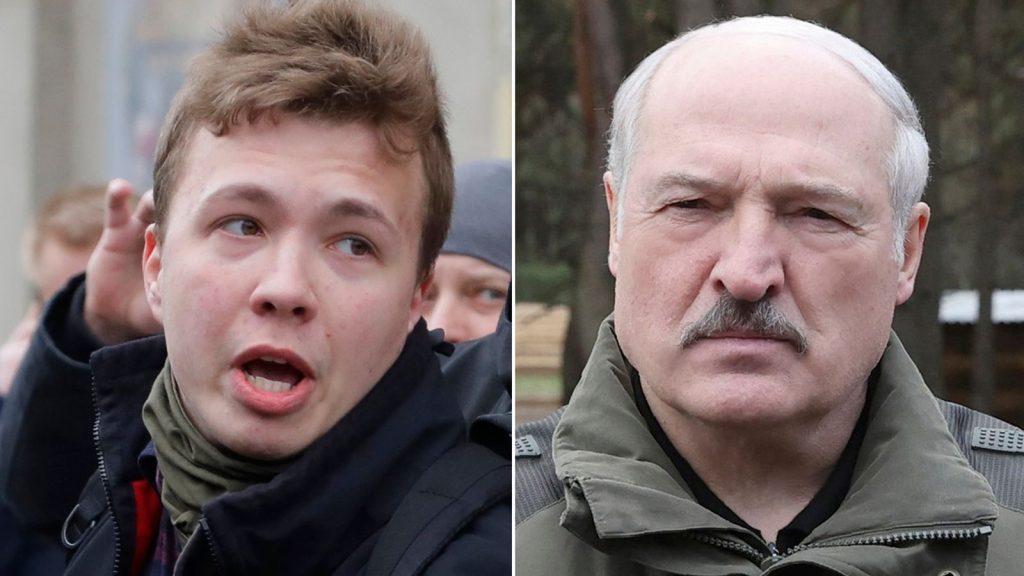 Роман Протасевич (вляво) и Александър Лукашенко са във всички новини тези дни. Снимка: news.sky.com