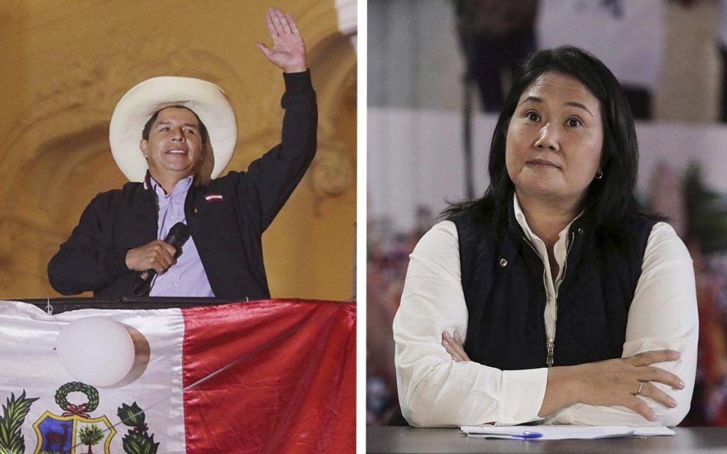 Левият Педро Кастийо и дясната Кейко Фухимори са лицата на поляризацията в Перу. Снимка: aristeguinoticias.com