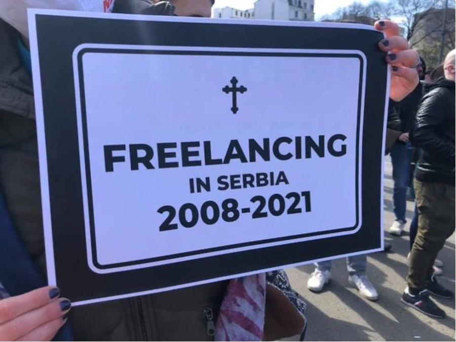 Протест на фрийлансърите в Сърбия (източник: URI)