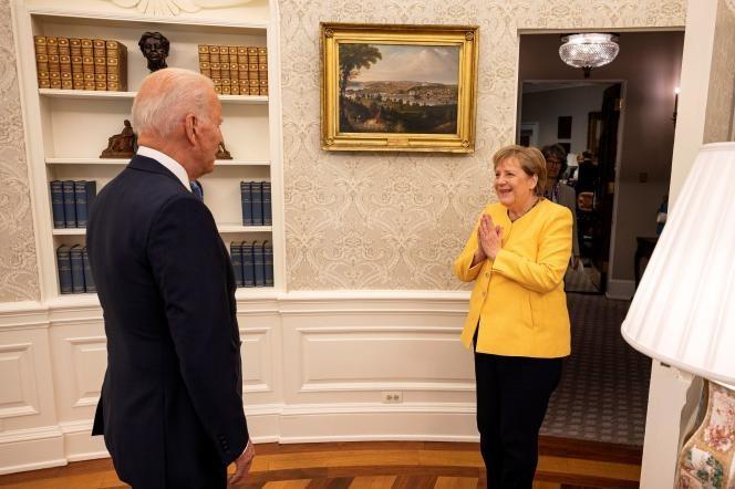 Джо Байдън посреща Ангела Меркел в Овалния кабинет. Снимка: iz.ru