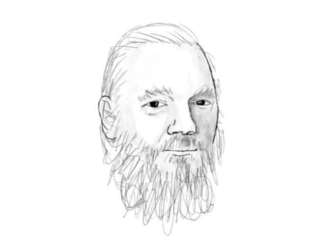 Джулиан Асанж. Илюстрация: Натаниел Ст. Ллеър